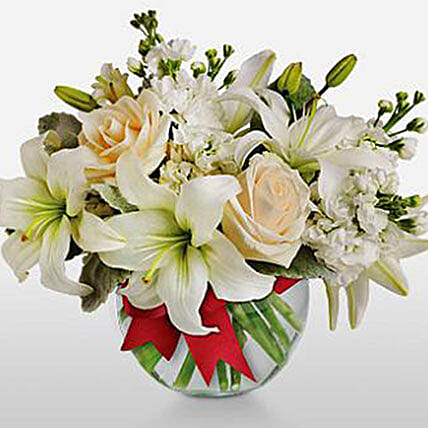 Cloud Of Creme Roses And White Asiatic Lilies:Send Anniversary Flowers to Kuwait