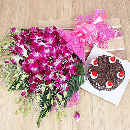 Exotic Orchid Bunch And Cake