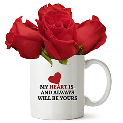 Love Quote Mug With Red Roses:Send Corporate Gifts to Kuwait