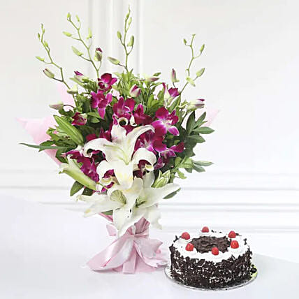 Orchid Lily Bunch And Cake:Gift Delivery in Kuwait