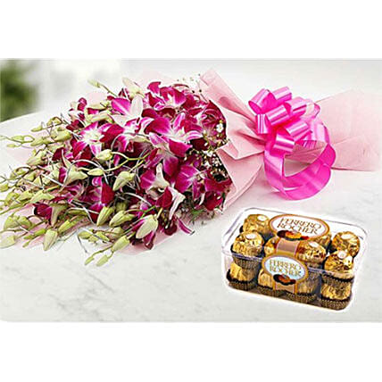 Ornamental Orchids And Choco Combo