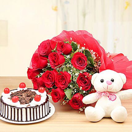 Red Rose Bunch And Teddy