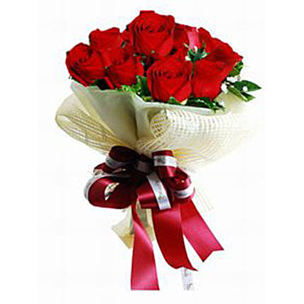 Red Roses Bouquet With Ribbon