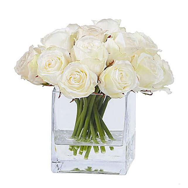 Springtime White Rose Vase Arrangement
