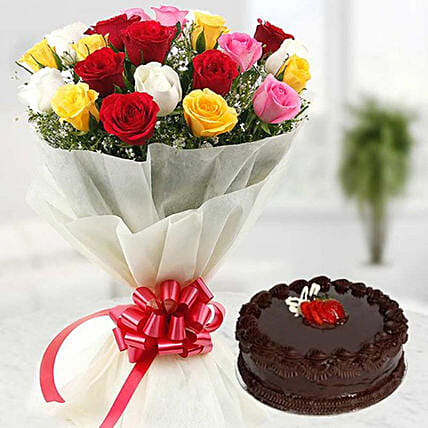Mixed Rose Bunch And Cake