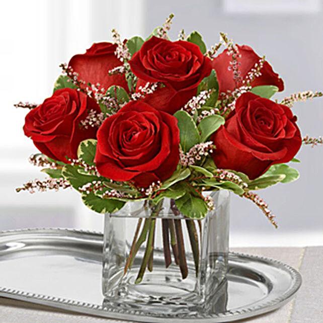 Pristine Red Rose Arrangement