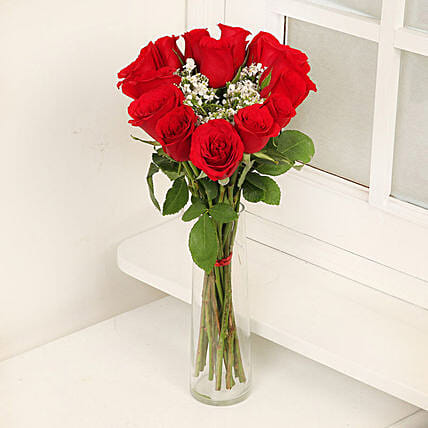 Exotic Glass Rose Arrangement:Send Valentines Day Gifts to Qatar