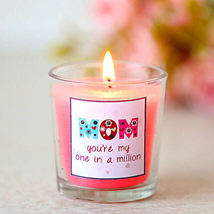 One In A Million Mom-1 pink vanilla fragrance glass candles for mom:Send Candles