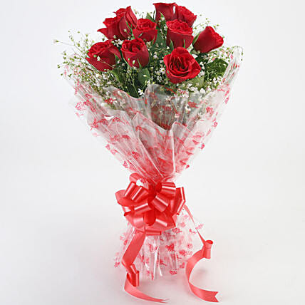 10 Red Roses Exotic Bouquet:Valentines Day Flowers