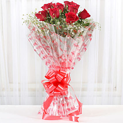 10 Red Roses Exotic Bouquet:Bunch of Flowers