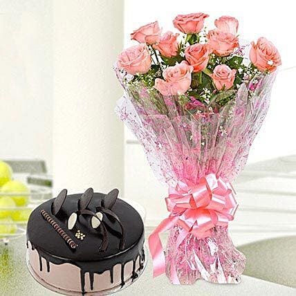 Online Flower Bouquet With Cake:Flowers to Farah