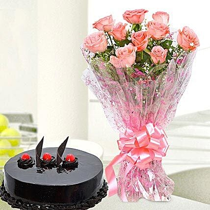 Delicious Truffle Cake With Bunch Of Flower