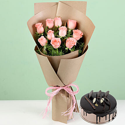 Flower and Cake Combo for Girlfriend