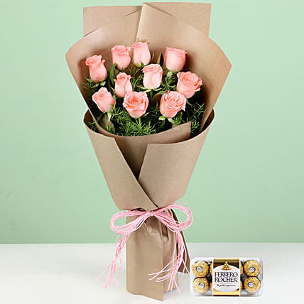 Flower Bouquet with Chocolates Online
