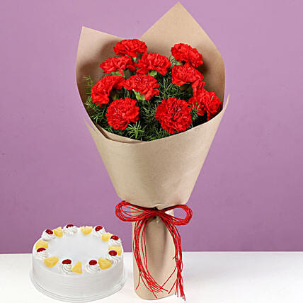 Premium Flower Bouquet and Cake Combo