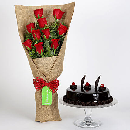 Truffle Cake and Rose Bouquet Combo Online
