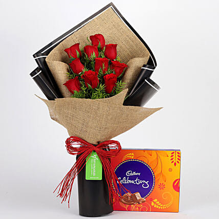 Red Roses Bouquet and Cadbury Celebrations Online:Birthday Flowers And Chocolates