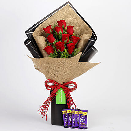 Bunch Of Red Roses with Dairy Milk Chocolate Online