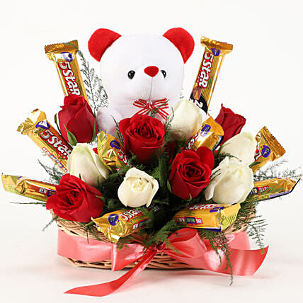 10 Roses With Teddy & Choco Basket Arrangement