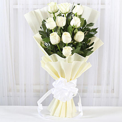 Pristine White Roses Bunch:Send Miss You Flowers