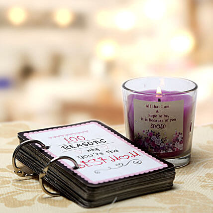 100 Reasons For Best Mom and Candle-100 reasons why youre the best mom,along with small candle in a glass with a lovely quote