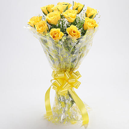Bright Yellow Rose Bouquet:Yellow Roses