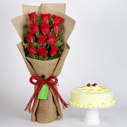 Multi Layered Red Roses Bouquet and Cake Online