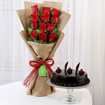 Multi Layered Red Roses with Truffle Cake Online:Valentines Day Flowers & Cakes