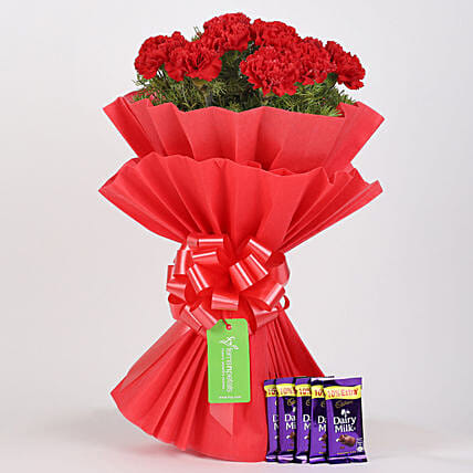 red carnations n chocolate combo online