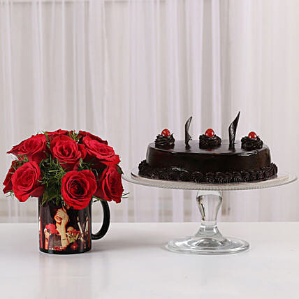 red roses n personalized mug n delicious cake combo:Buy Flowers Combo