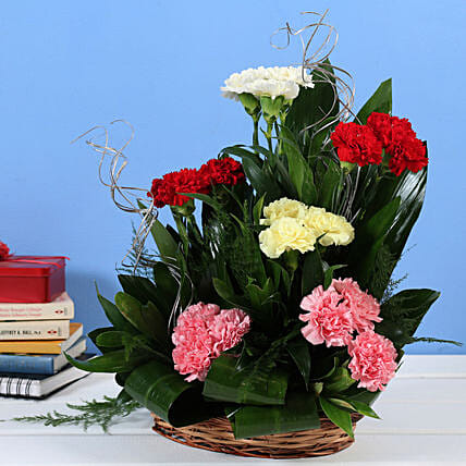 Mixed Carnations Cane Basket Online