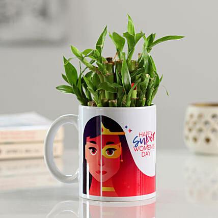 Women's Day Printed Mug with Plant Online:Womens Day Gifts for Wife
