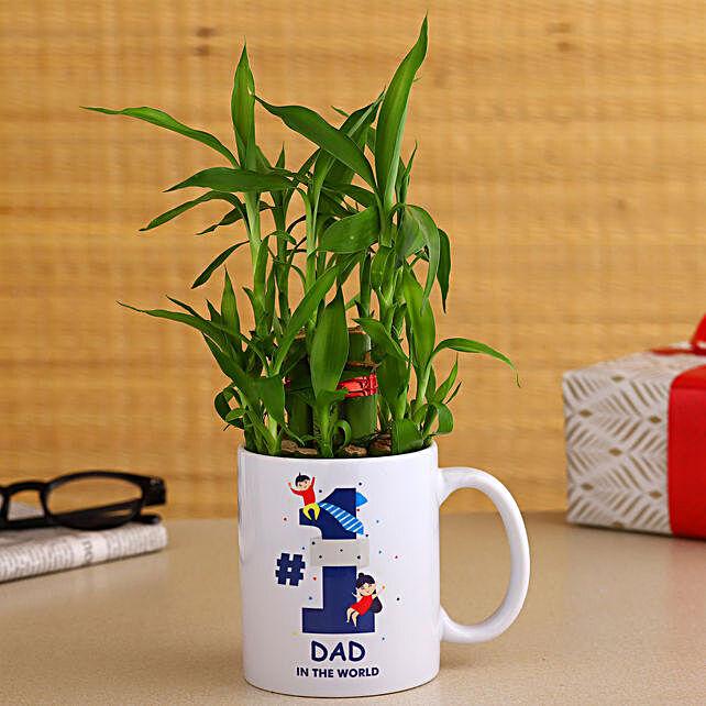 2 Layer Bamboo Plant In No. 1 Dad Ceramic Mug
