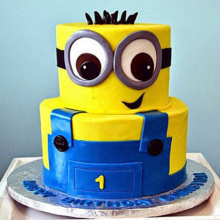 Minion 3d Cartoon Cake for 1st Birthday 3kg:Minion Theme Cake