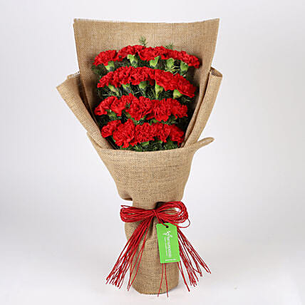 20 Layered Red Carnations- Jute Wrapped