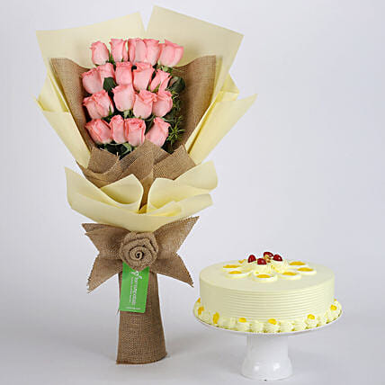 Multi Layered Pink Roses Bouquet and Butterscotch Cake Online