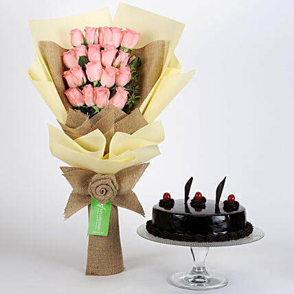 Multi Layered Pink Roses Bouquet and Cake Online:Send Flowers & Cakes to Indore