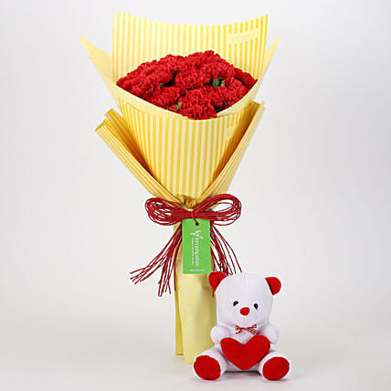 Bunch of Carnations with Teddy Online