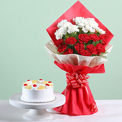 21 Carnations Bouquet & Pineapple Cake Combo