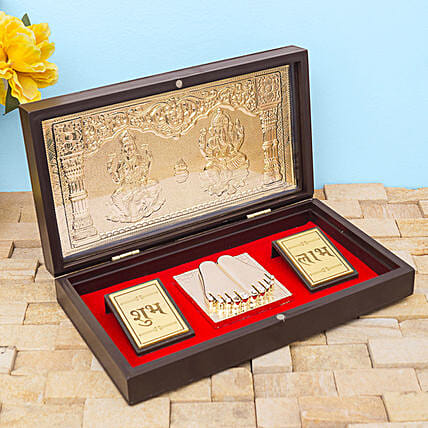 24 Carat Gold Foil Lakshmi Ganesha Pooja Box:Premium & Exclusive Gift Collection