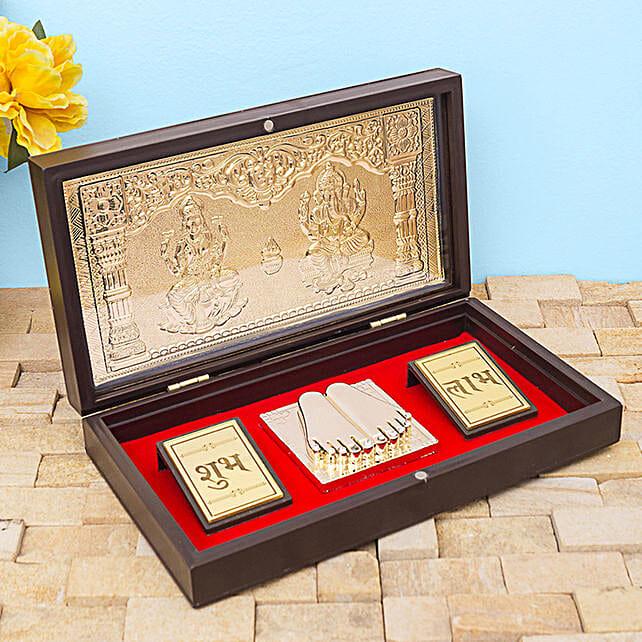 24 Carat Gold Foil Lakshmi Ganesha Pooja Box:Premium & Exclusive Gift Collection