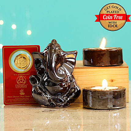 24 Carat Gold Plated Coin Free With Brown Ganesha Idol Diwali Hamper