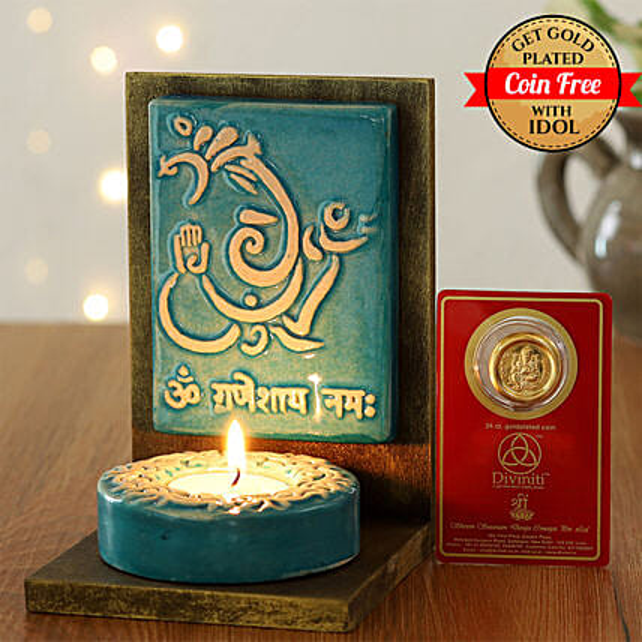24 Carat Gold Plated Coin Free With Elegant Ganesha Tealight Holder:Send Diyas