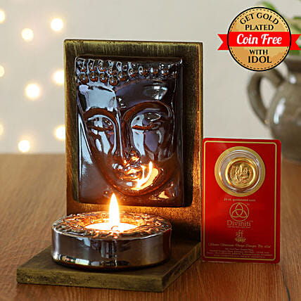 24 Carat Gold Plated Coin Free With Face Of Buddha Tealight Holder