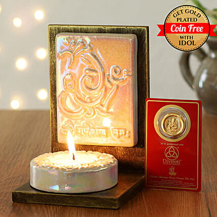 24 Carat Gold Plated Coin Free With Ganesha Tealight Holder White