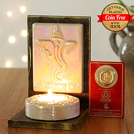 24 Carat Gold Plated Coin Free With Lord Ganesha Face Tealight Holder:Laxmi Ganesh Idol