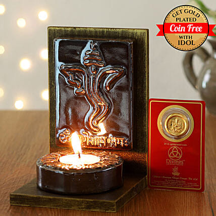 24 Carat Gold Plated Coin Free With Lord Ganesha Tealight Holder