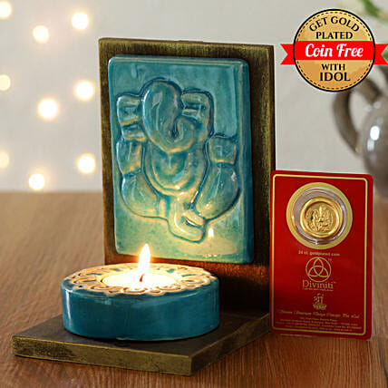 24 Carat Gold Plated Coin Free With Sitting Ganesha Tealight holder