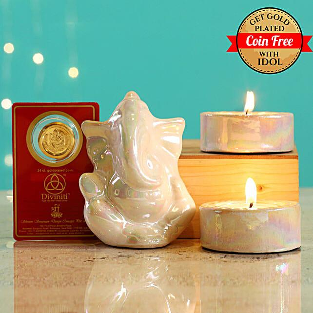 24 Carat Gold Plated Coin Free With White Ganesha Idol Diwali Hamper:Send Handicraft Gifts for Diwali