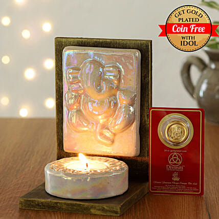 24 Carat Gold Plated Coin Free With White Ganesha Tealight Holder:Ganesh and Lakshmi Idols